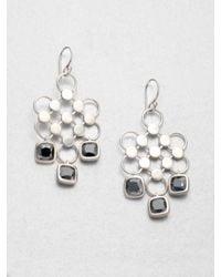 John Hardy   Metallic Dot Hematite & Sterling Silver Diagonal Square Drop Earrings   Lyst