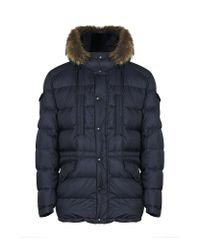 Moncler Blue Riviere Fur Hooded Down Parka for men