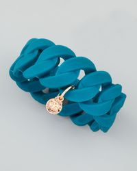 Marc By Marc Jacobs - Blue Wide Rubber Katie Turnlock Bracelet Teal - Lyst