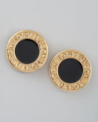 Tory Burch | Black Cole Logo Stud Earrings | Lyst