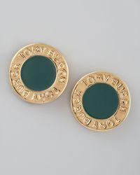Tory Burch | Gray Cole Logo Stud Earrings Green | Lyst