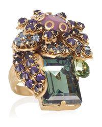 Bijoux Heart - Purple Ernite Goldplated Swarovski Crystal Ring - Lyst