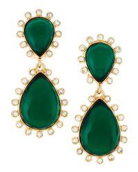 Kenneth Jay Lane Green Rhinestone Dangle Clipon Earrings
