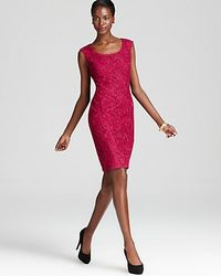 Adrianna Papell Red Lace Dress Cap Sleeve