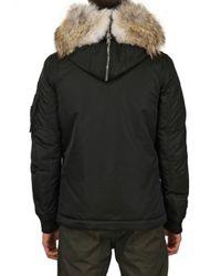DSquared² Black Coyote Rabbit Fur Coated Nylon Coat for men