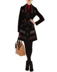 Karen Millen Brown Blanket Stripe Coat