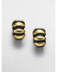 Kenneth Jay Lane   Ribbed Shrimp Clipon Earringsblack   Lyst