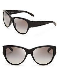 c5b471f42d Lyst - Burberry Leather Detail Cat Eye Sunglasses in Black
