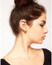 ASOS - Metallic Pair Of Crystal Ear Cuffs - Lyst