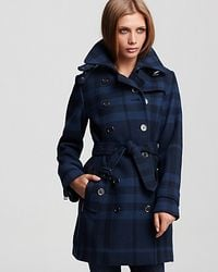 Burberry - Blue Brit Double Breasted Belted Check Print Wool Coat - Lyst