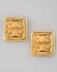 Tory Burch - Metallic Square Logo Stud Earrings - Lyst