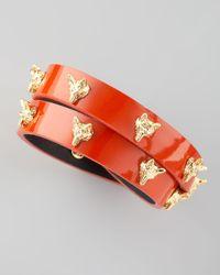 Tory Burch Red Fox Studded Wrap Bracelet