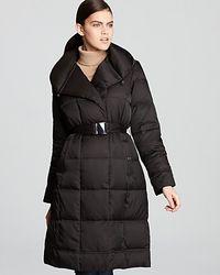 Calvin Klein Belted Pillow Collar Coat In Black Lyst