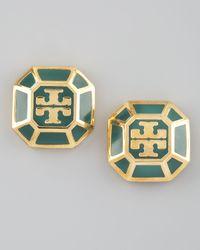 Tory Burch - Green Rylan Logo Earrings Malachite - Lyst