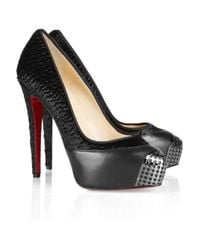 Christian Louboutin | Black Maggie 140 Leather Trimmed Calf Hair Pumps | Lyst