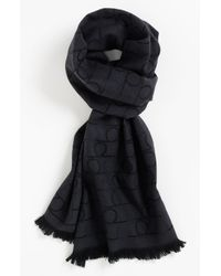 Ferragamo | Black Gancini Pattern Scarf for Men | Lyst