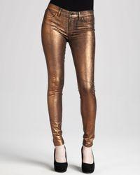 J Brand | Brown 801 Coated Metallic Bronze Skinny Jeans | Lyst