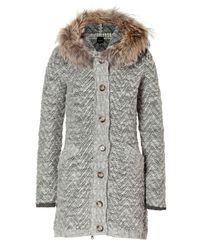 Peuterey - Gray Light Grey Heather Wool Montezuma Cardigan with Fur Trim - Lyst