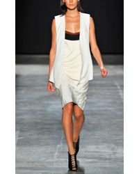 Narciso Rodriguez | White Ivory And Black Poly Drape Dress | Lyst