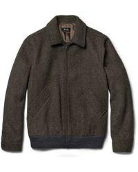 A.P.C. Gray Wool Felt Bomber Jacket for men