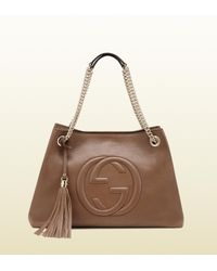 749572e7b9e3 Gucci Soho Leather Shoulder Bag in Brown - Lyst