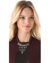 Iosselliani Black Rhinestone Bib Necklace