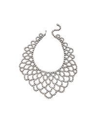 Kenneth Jay Lane - Metallic Crystal Lace Bib Necklace Silvercrystal - Lyst