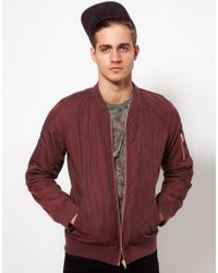 ASOS Red Bomber Jacket in Quilted Fabric for men