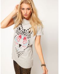 ASOS Collection | Gray T-Shirt with Mosaic Wolf | Lyst