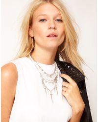 ASOS | Metallic Pearl Cross Stone Multirow Necklace | Lyst