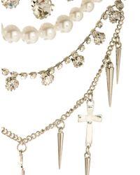 ASOS - Metallic Pearl Cross Stone Multirow Necklace - Lyst