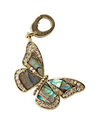 Fossil - Metallic Goldtone Abalone and Glass Details Lobsterclaw Clip Butterfly Charm - Lyst