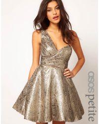 ASOS One Shoulder Dress in Metallic Jacquard