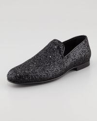 Jimmy Choo Glitter Smoking Slipper Black for men