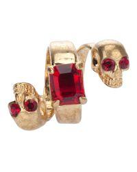 Alexander McQueen | Red Skull Spiral Ring | Lyst
