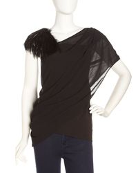 Helmut Lang - Black Feather-embellished Draped Top - Lyst