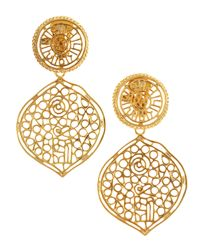 Kenneth Jay Lane | Metallic Openwork Clip Earrings | Lyst