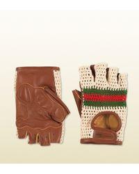 Gucci   White Crochet Front Fingerless Biking Gloves for Men   Lyst