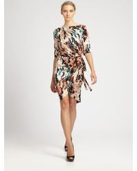 Rachel Roy | Black Landscape Printed Wrap Dress | Lyst