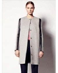 Sophie Hulme   Gray 3d Sleeve Wool Leather Coat   Lyst