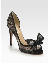 Black lace heels with bow - photo#25
