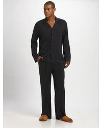 American Essentials | Black Silk/cotton Striped Pajama Set for Men | Lyst