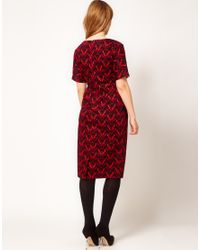 ASOS Red Wiggle Dress in Wallpaper Print