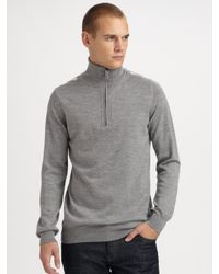 Burberry Brit | Gray Half-zip Wool Sweater for Men | Lyst