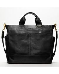 COACH | Black Bleecker Legacy Leather Utility Tote for Men | Lyst