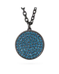 COACH | Blue Large Pave Disc Pendant Necklace | Lyst