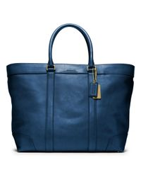 COACH - Blue Bleecker Legacy Leather Weekend Tote for Men - Lyst