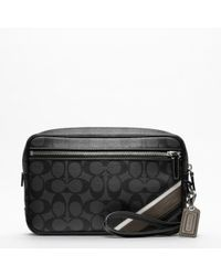 COACH - Black Heritage Stripe Flight Case for Men - Lyst