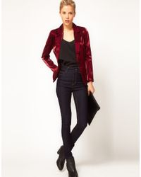 ASOS Red Exclusive Blazer With Metallic Sheen