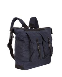 Ally Capellino - Blue Navy Frank Waxed Cotton Rucksack for Men - Lyst